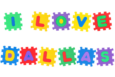 Message I Love Dallas, from letters puzzle, isolated on white background.