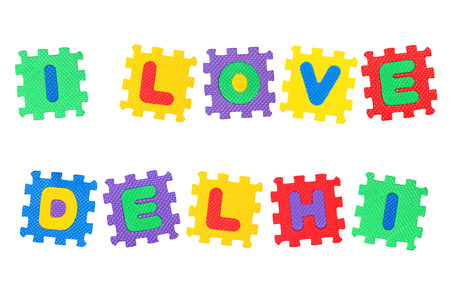 Message I Love Delhi, from letters puzzle, isolated on white background.