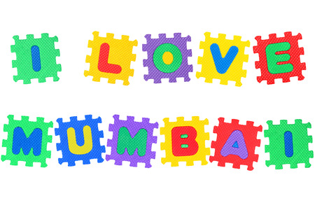 Message I Love Mumbai, from letters puzzle, isolated on white background. Stock Photo