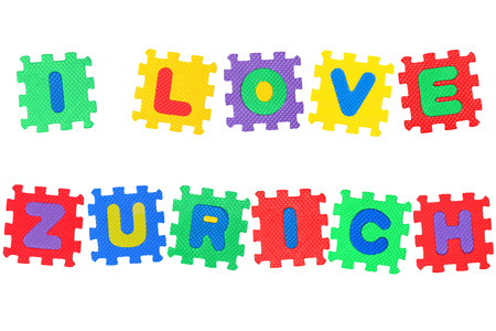 Message I Love Zurich, from letters puzzle, isolated on white background. Stock Photo