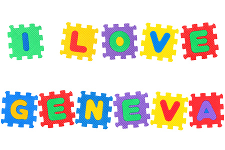 Message I Love Geneva, from letters puzzle, isolated on white background.