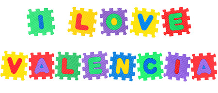 Message I Love Valencia, from letters puzzle, isolated on white background. Stock Photo
