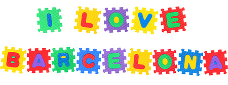 Message I Love Barcelona, from letters puzzle, isolated on white background.