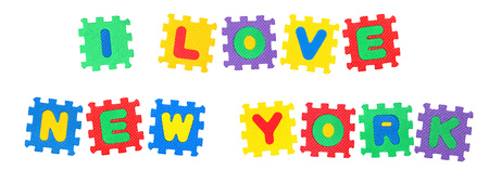 Message I Love New York , from letters puzzle, isolated on white background.