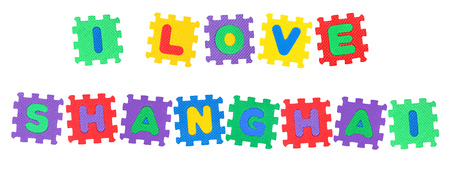 Message I Love Shanghai , from letters puzzle, isolated on white background. Stock Photo