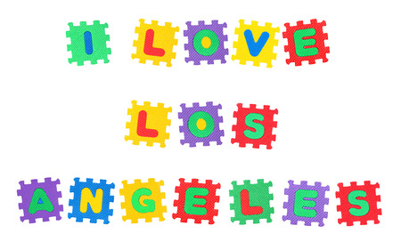 Message I Love Los Angeles, from letters puzzle, isolated on white background. Stock Photo