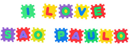 Message I Love Sao Paolo, from letters puzzle, isolated on white background.