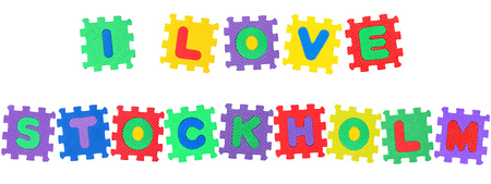 Message I Love Frankfurt, from letters puzzle, isolated on white background.