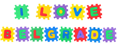 Message I Love Belgrade, from letters puzzle, isolated on white background.