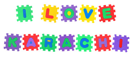 Message I Love Karachi, from letters puzzle, isolated on white background.