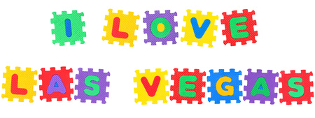 Message I Love Las Vegas , from letters puzzle, isolated on white background.