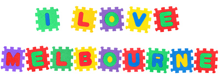 Message I Love Melbourne , from letters puzzle, isolated on white background.