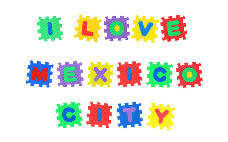 Message I Love Mexico City, from letters puzzle, isolated on white background.