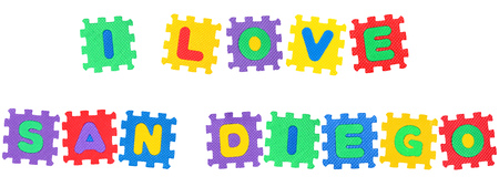 Message I Love San Diego , from letters puzzle, isolated on white background.