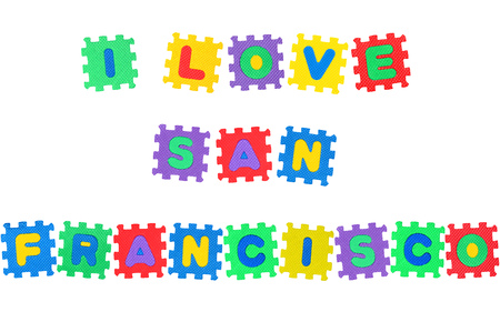Message I Love San Francisco, from letters puzzle, isolated on white background.