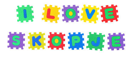 Message I Love Skopje, from letters puzzle, isolated on white background.