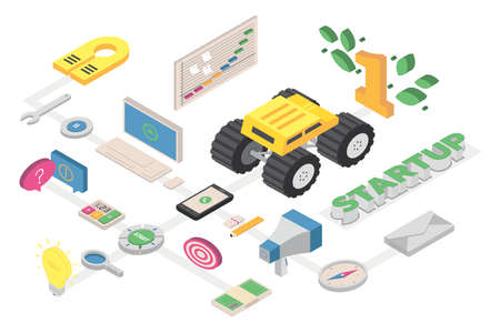 Isometric graphic composition about Startup business, with graphic elements related to office, communication, researches and other areas in management. Illustration