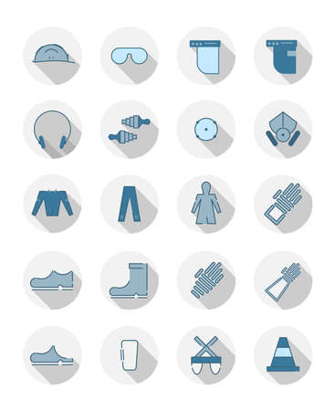 Flat, circle, 20 icons related to Safety Blue - Grey 스톡 콘텐츠 - 103037854