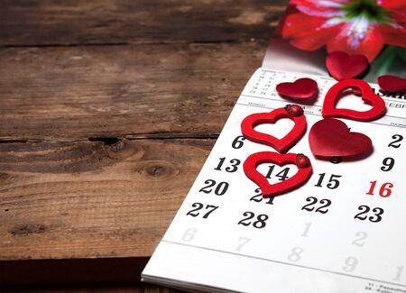 A calendar with hearts
