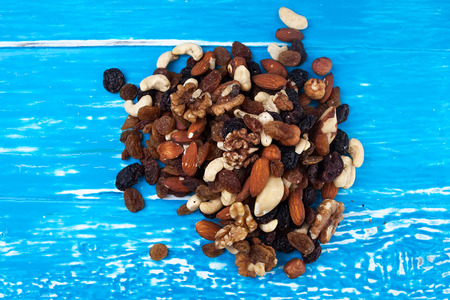 A mix of exotic fruits and nuts