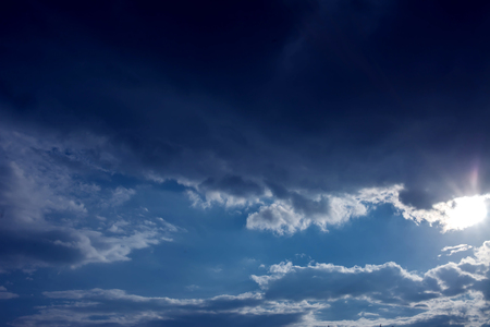 Beautiful clouds with blue sky background. Nature weather, cloud blue sky and sun 版權商用圖片