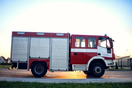 Fire engine in the fire department and ready for challenge