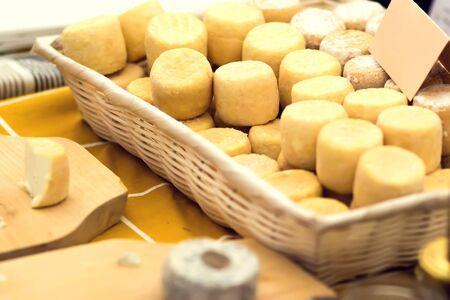 Diferentes tipos de queso en el festival del queso. Concepto de alimentos orgánicos y agrícolas.