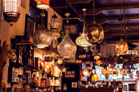 Traditional oriental lights arabic lamps background.