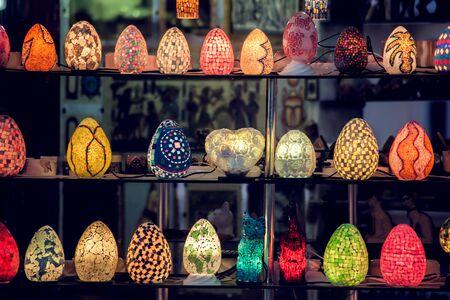 Traditional arabian style colorful lamps background. Reklamní fotografie
