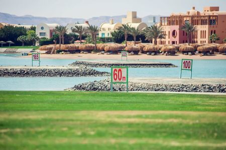 Panorama View of Golf Course. Golf course with a rich green turf beautiful scenery. Stock Photo