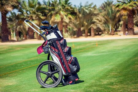 Equipment for playing golf on the green field Stockfoto