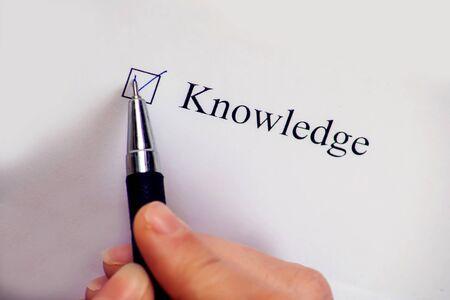 Checklist box - Knowledge word. Check form concept