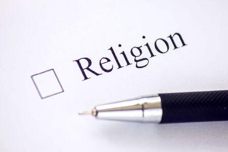 Checkliste mit einem Wort Religion auf weißem Papier. Checkbox-Konzept.