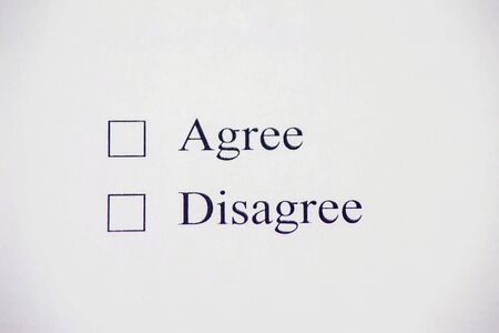 Checklist box - Agree, Disagree. Check form concept Stockfoto