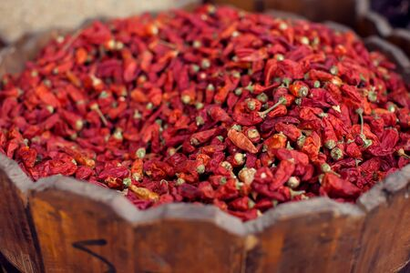 Dried chillies in basket the oriental egypt market