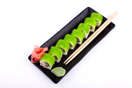 Sushi roll on black plate - japanese food style
