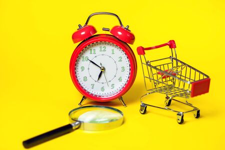 Red alarm clock, small shopping trolley, keyboard and magnifier on color background. Shopping concept