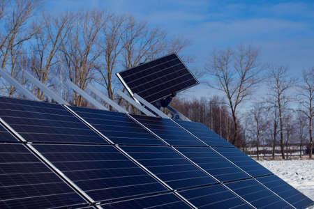 Installation of solar panels. Alternative energy. Environmental protection