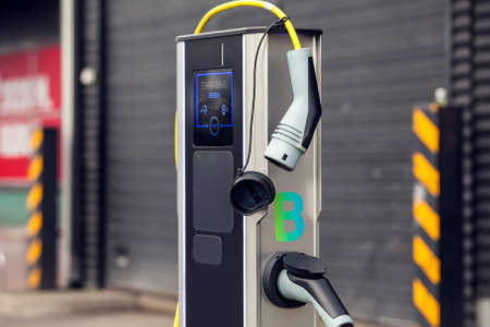 Car charging system station. Eco transport technology. Stock fotó - 163817272