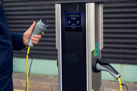 Car charging system station. Eco transport technology.