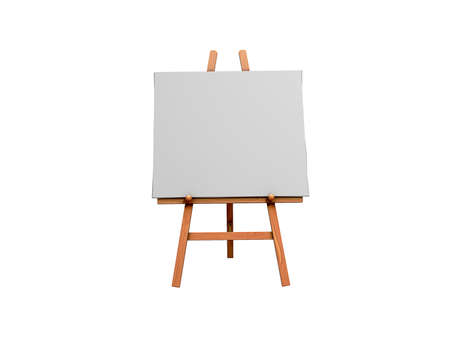 Isolated 3d Image of an Art Easel and blank Canvas