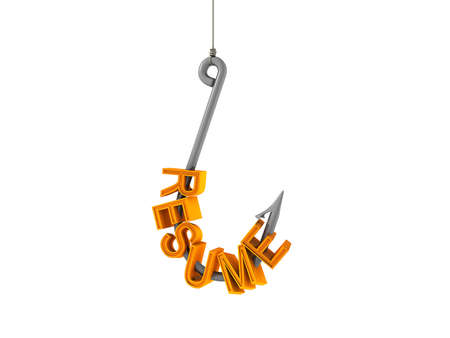3d Image of a Resume on a fish Hook Stock Photo