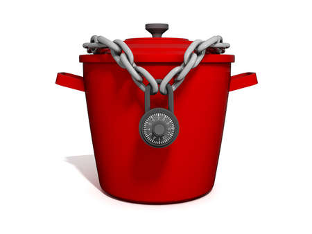 chain food: Isolated picture of a Cooking Pot with a lock around it. Stock Photo