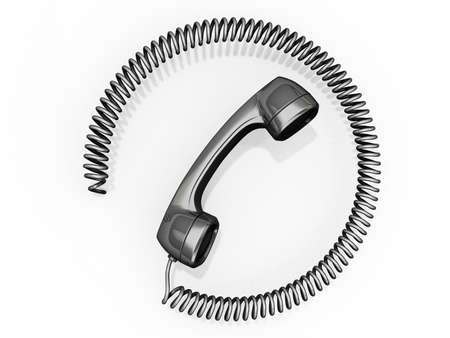 それのまわりの円のコード付き携帯電話受信機。