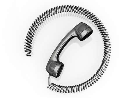 hotline: Een hoorn met koord in een cirkel rond het. Stockfoto