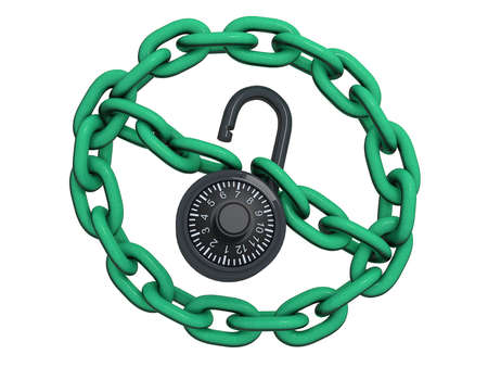 No sign made of chain links and an open lock. Stock Photo