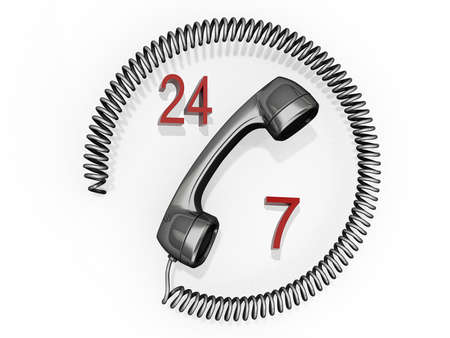 Phone receiver with its cord in a circle around it and the numbers 24 and 7. Stock Photo