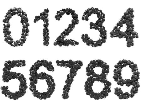 Abstract Shiny Grunge Spheres Font - Numbers