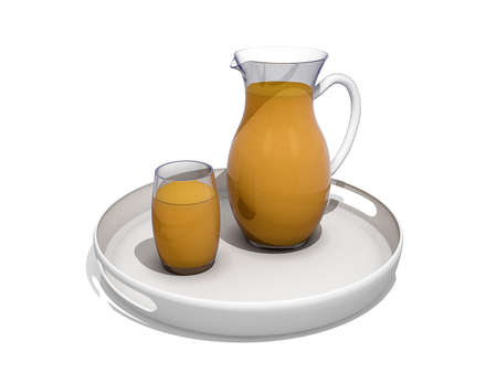 Tray with a Glass and Pitcher of Orange Juice Stock Photo