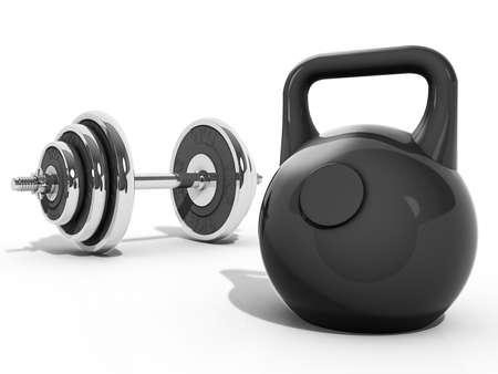 levantar pesas: Una Kettlebell y mancuernas